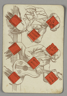 Eight of Diamonds playing card from a pack of transformation playing cards. Vertically, a figural scene shown in outline. Two gentlemen in elaborate dress play music--the man at top holds a triangle, and the man at bottom plays guitar. Red diamonds integrated into the scene.