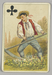Jack of Clubs court playing card from a pack of transformation playing cards. Figure of a farming boy holding a large scythe, threshing grain from the plants at his feet. He wears a straw hat with a red ribbon. Black club symbol at upper left corner.