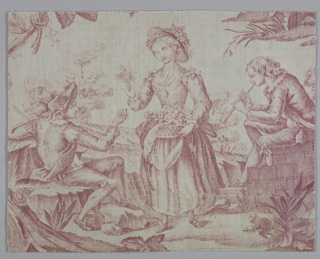 Fragment shows two young men with musical instruments and a young girl with flowers.
