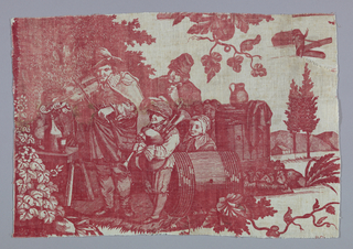 Fragment shows a man playing a violin and a boy playing bagpipes while a man and two children watch. Group is shown under trees near barrels.