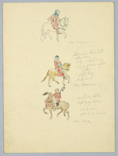 Drawing, Color Notes for the Lawyer, the Franklin, and the Cook, Study for Library of Congress Mural (Canterbury Pilgrims), ca. 1939
