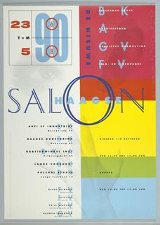 Poster, Salon Haagse/De Nieuwe/Beeldende Kunst/Architectuur/Grafische Vormgarving/Filmen Videokunst, 1990