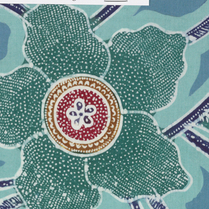 "Component ""a"" is a length of batik fabric with large flower and vine motif in green-blue, brown, gold, white, dark blue, and red on black ground. Some petals and leaves feature small white dots, herringbone pattern, or other small filler details. Components ""b-f"" are color swatches."