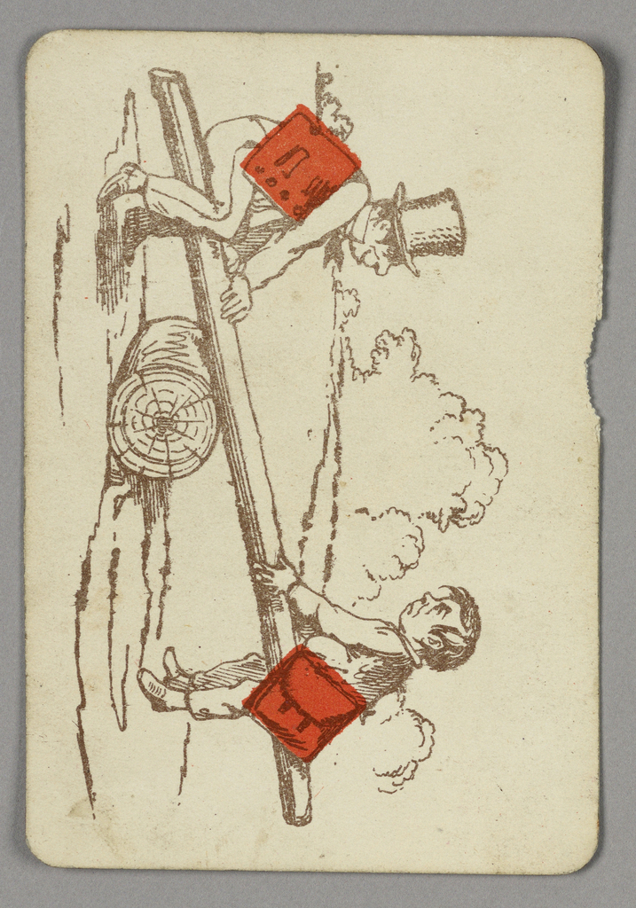Two of Diamonds playing card from a pack of transformation playing cards. Vertically, two child figures on a seesaw balanced on a log. Boy at top wears a top hat and is smiling, a red diamond incorporated into his torso. Boy at bottom appears afraid, red diamond integrated into his bag.
