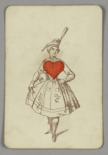 Ace of Hearts playing card from a pack of transformation playing cards. Female figure depicted in outline, wearing a dress, hat, and boots. A red heart appears as the bodice of her dress.