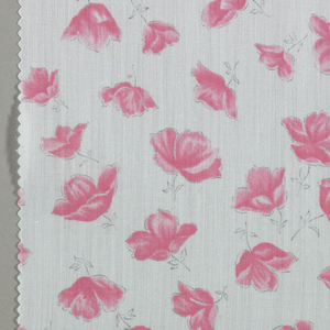 Five samples patterned by poppy blossoms. Three colors per sample.