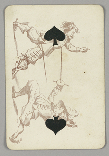 Two of Spades playing card from a pack of transformation playing cards. Two male figures depicted in outline vertically, engaged in a sword fight. Two symmetrical black spades appear at center top and bottom.