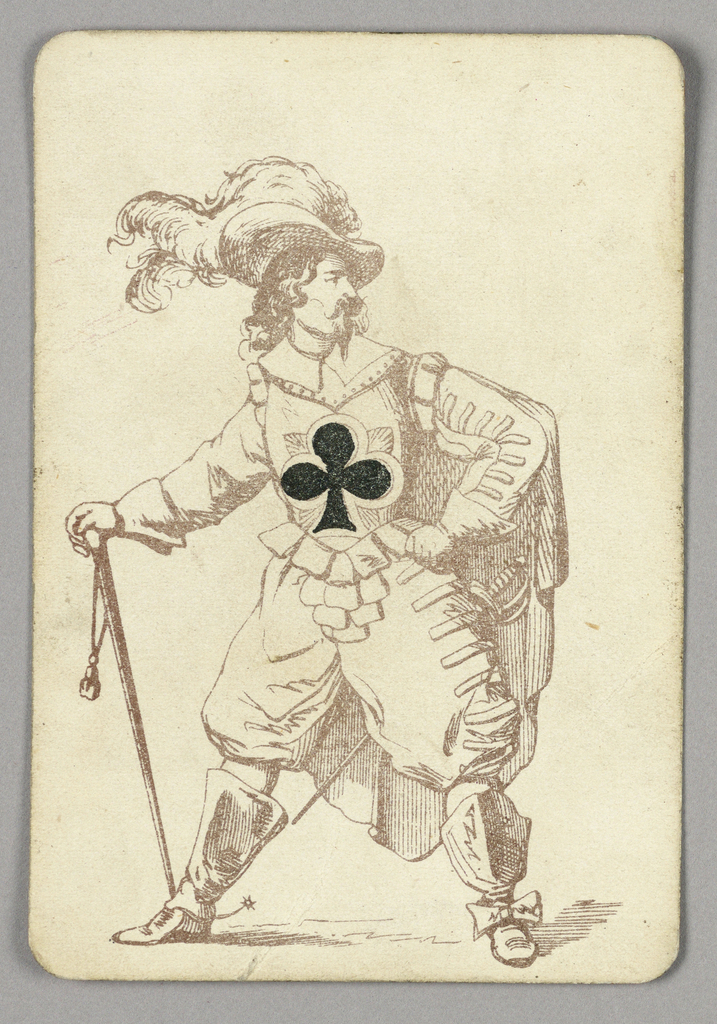 Ace of Clubs playing card from a pack of transformation playing cards. Male figure depicted in outline in elaborate military costume. He wears wide boots with spurs, voluminous pants, an armored vest, cape, and a feathered hat. A sword at his hip. The black club symbol integrated into his armor at center.