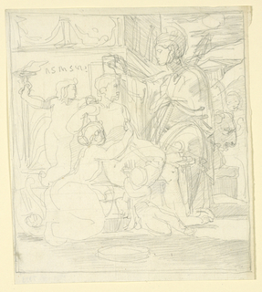 A nude man is seated on a throne-like bench, facing left in profile. A woman, at his feet, grasps him about the waist, while one boy sits beside her. Another stands behind the man, holding a torch. A draped figure stands before him. Temple in background, right.