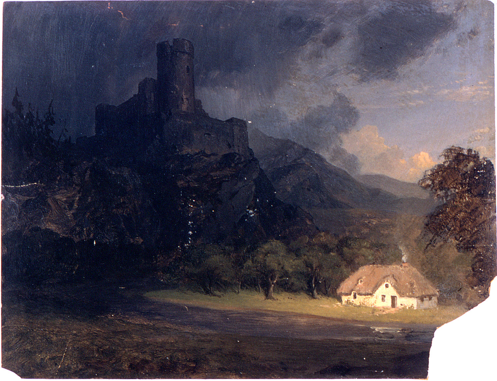 A mediaeval castle in ruins is shown upon a rock in the left middle distance.  A sloping stream is in the foreground.  A house stand on the rear bank of the stream beside a wood.  A hill range stretches toward the right background.  Clouds are in the sky.