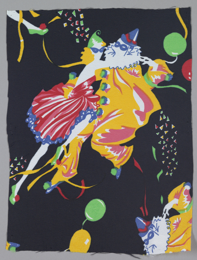 Brightly colored masked figures on a black background.