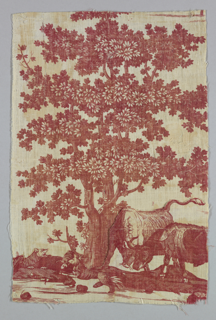 Fragment shows a large leafy tree with two grazing cows beneath it. At left, two barking dogs. In red on white ground.