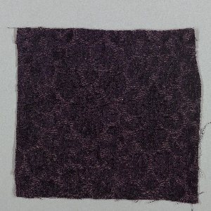 "Six velvet fragments used as a ""document"" by Hayden Furniture Company. Plain weave patterned by cut and uncut extra-warp pile and an extra weft (metal in background), or cisele voided velvet. Staggered alternating repeat of two rows of flowering plants:  one row has two plants each with a central axis, the other row has two plants, one with an S-curved stem and the other a Z-curved stem.  In the repeat, the S and Z-curved plants support the large single blossom of the alternate row."