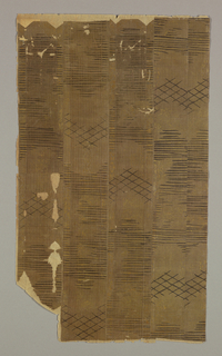 Five vertical strips pasted together on paper backing; fine thin silk cloth (with each two warps pushed close together, then space, then two, etc.), with faint small continuous gold designs of flying bird in flowers, flowers on water, rosettes in diamond trellis, angled bamboo shade. Horizontal hatching and diamond trellis overpainted in black lacquer with fine brush - probably later.