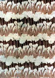 Cream color cotton velvet, printed by roller in design of horizontal rows of crocus and daffodils, in shades of dull rose.