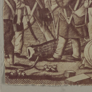 Fragment made of two pieces shows a group of soldiers and civilians in a city street bearing muskets with bayonets. A woman tends to an injured man seated in the lower right. In purple on white.
