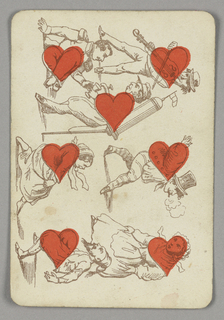 Seven of Hearts playing card from a pack of transformation playing cards. Vertically, a figural scene with various people depicted in outline, a red heart incorporated into their physique, each in different ways. At lower left, a man and woman dancing. At upper left, a man with a beverage tank on his back pours a drink for a seated man. At upper right, a man plays the violin. At lower right, a dancing couple, the man smoking, the woman with an angry expression.