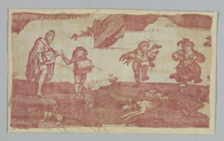 A fragment shows two musicians, a man and a boy, on the left. The man plays a hurdy-gurdy. Two dancing figures, a man and woman, are on the right. Lower part of the fragment is pieced with a scrap of toile showing dogs and human feet.