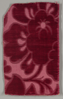 Incomplete portion of a large scale flower in red.