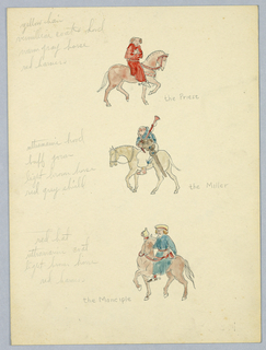 Drawing, Color Notes for the Priest, the Miller, and the Manciple, Study for Library of Congress Mural (Canterbury Pilgrims), ca. 1939