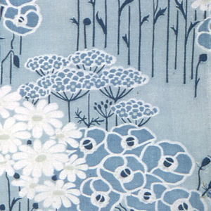 Fragment in shades of blue-green with some white has a design of stylized clumps of daisies, poppies and marguerites standing straight on long stems. Heavy cotton with slight weft ribbing.