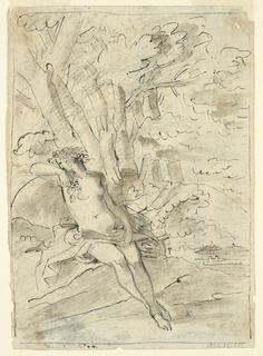 Vertical rectangle. Two trees stand in the left foreground. At right is a view of hills across a lake. Verso: a nude woman crowed by a wreath with cloth draped across her lap is shown seated in the woods. Framing black lines.