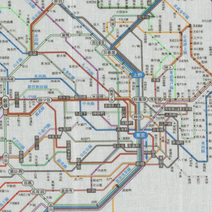 Square cotton handkerchief printed with a polychrome map of the Tokyo subway system. All text in Japanese.