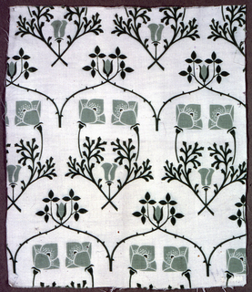 Stylized flat pattern in two shades of green on a plain white ground; confronted poppies enclose thistle and are topped by arch of thorny rose-branches ending in leaves and rosebud.