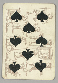 Eight of Spades playing card from a pack of transformation playing cards. Vertically, a group of figures engaged in various activities, the spade symbol composing the center of their torsos. At left, three seated figures. At center, two standing figures, one holding a sword and shield, the other with a peg leg and cane. At right, a jaunty man taking a wide step at top. Below, two men carry a sedan chair carriage in which a woman rides.