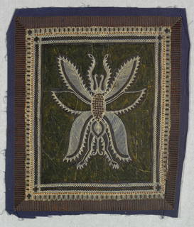 Set of fourteen cotton pieces showing the step-by-step process of producing batik in Java. Design is of a large winged insect within a geometric border. Dyed in blue and brown.