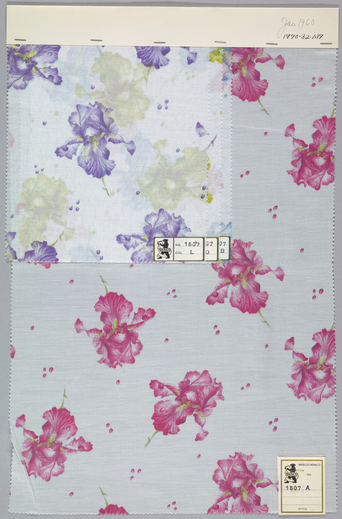 Four samples patterned by iris blossoms with bubbles scattered on the ground. Five colors per sample. Bound at top by cardboard.