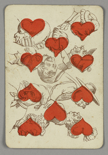 Ten of Hearts playing card from a pack of transformation playing cards. Vertically, eight figures depicted in bust view arranged in pairs, red hearts integrated into their faces, chests, and arms. At upper left, two gentlemen facing each other. At lower left, a man and woman facing away from each other. At upper right, two gentleman arguing, one sticking out his tongue. At lower right, an amorous couple.