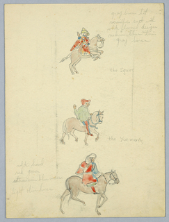 Drawing, Color Notes for the Squire and the Yeoman, Mural Study for the Canterbury Tales, North Reading Room, Library of Congress, ca. 1939