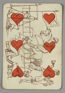 Six of Hearts playing card from a pack of transformation playing cards. Vertically, a figural scene at a horse racetrack. At left, three seated men, two of them jockeys, with red hearts forming their torsos. At right, two figures of jockeys on horseback, red hearts integrated into their torsos; the racetrack in the distance. At top, a flagpole with a flag marked with a red heart.