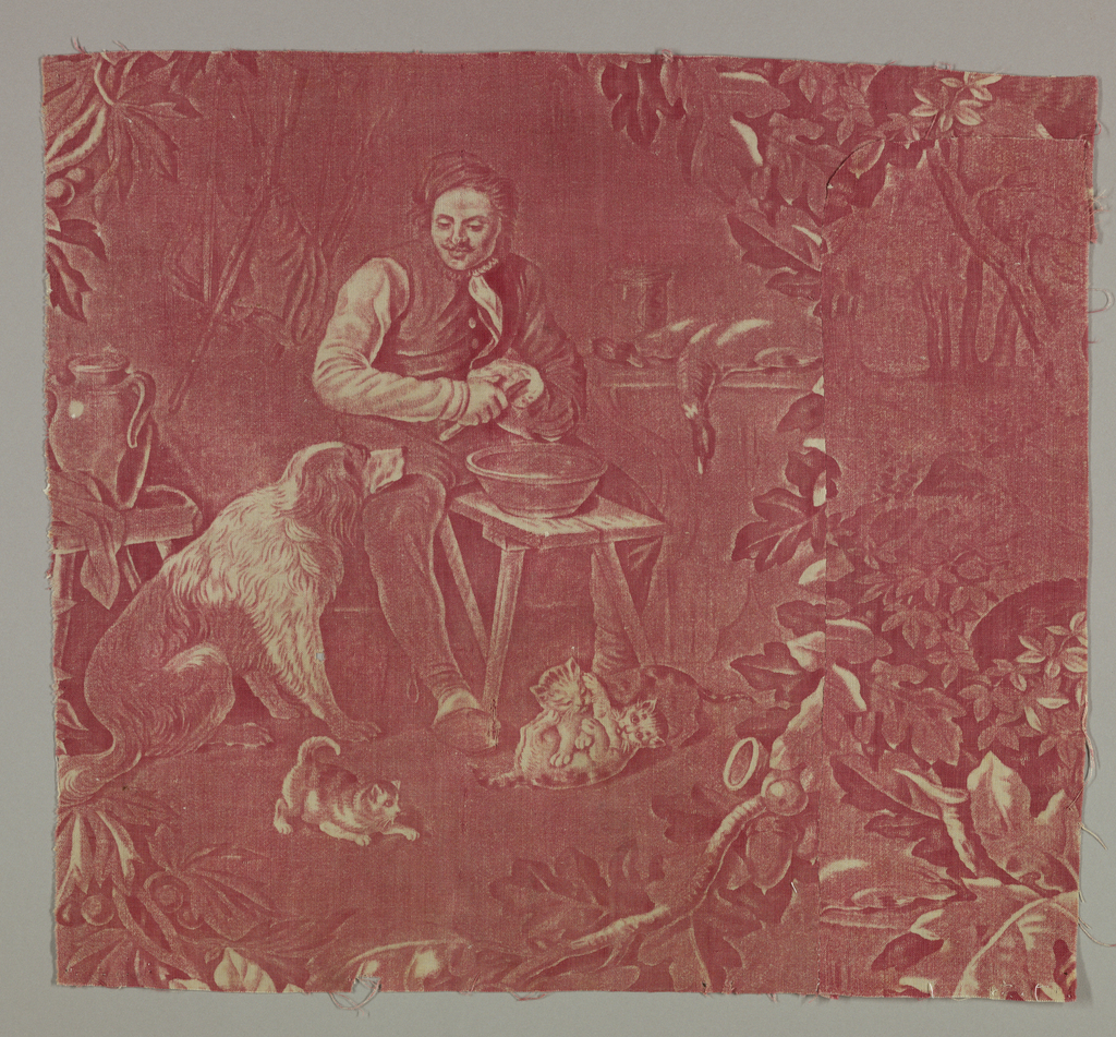 Fragment shows a man seated in front of a small table with a dog and several cats. In red on white. Background is dark.