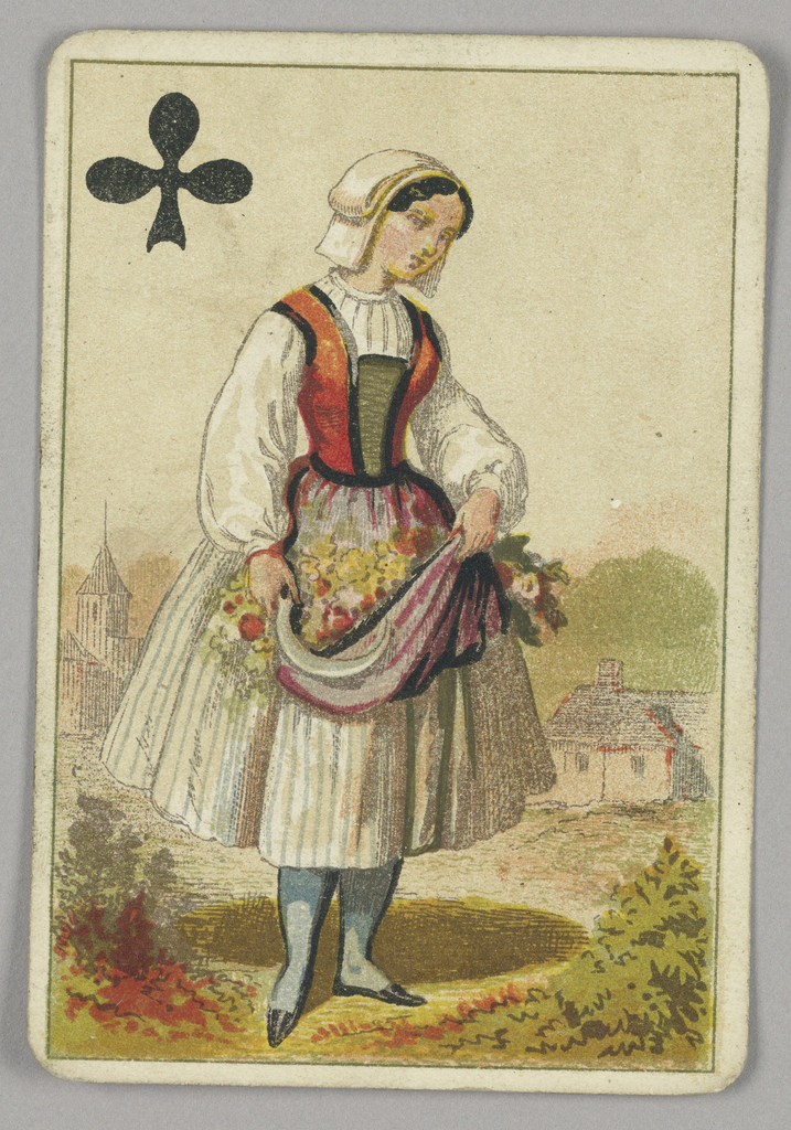 Queen of Clubs court playing card from a pack of transformation playing cards. A female maiden figure wearing a white dress with orange and yellow bodice. She carries freshly-picked flowers in the folds of her skirt. Architectural indications of a town in the background. A black club at upper left corner.