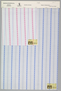 Two samples of crêpe fast patterned by alternating vertical stripes of a geometric floral and a regular stripe. Two colors per sample. Bound at top by cardboard.