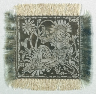 Small square doily, fringed on all sides, with an ivory linen warp and a gray-green silk weft. A figure of a woman dressed as a daisy with daisies surrounding her, and the word DAISY in the upper right corner, all appearing in ivory on a gray-green ground. A set of six, the doilies would have been used on the table as part of a dessert service.