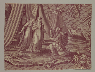 Fragment show a scene from the Story of Mathilde. A man down on one knee speaks to two women who have emerged from Turkish tents in the background.