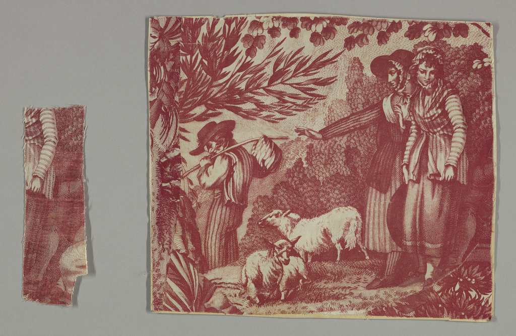 Fragment showing a pastoral scene with two girls with two sheep as a young man with a bundle tied to a stick walks away from them. In red on white ground.