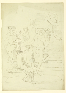 Seated and standing on steps in the foreground are a group of four classical figures, three of them nude. Figure at right plays the lyre. Within the haze of clouds, in the background, are two figures with haloes.