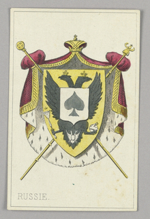 """Russia, Ace of Spades from Set of """"Jeu Imperial–Second Empire–Napoleon III"""" Playing Cards."""