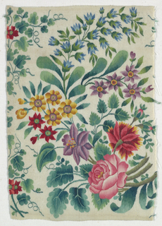 Very brightly colored flowers of various kinds including a rose in a curving spray on a white ground. Very fine wool in a superlative use of tapestry technique including interlocking hatching. Several shades of each color. Appears to be part of a longer panel with other flowers. Selvage on each side.