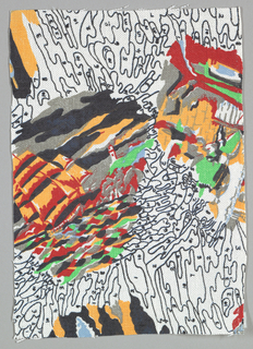 An unfinished 'paint by numbers' design in bright colors and black on white background.
