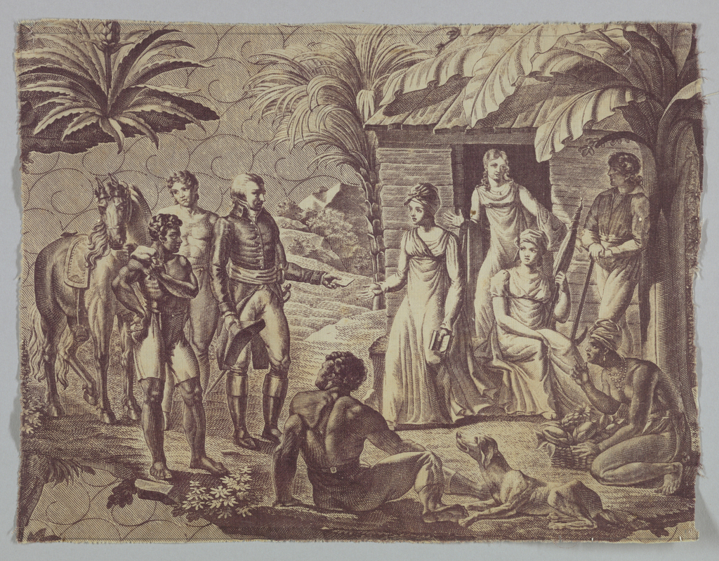 Fragment shows a scene in a tropical country and depicts a group of nine people, a horse and dog in front of a simple wooden building. In purple on white.