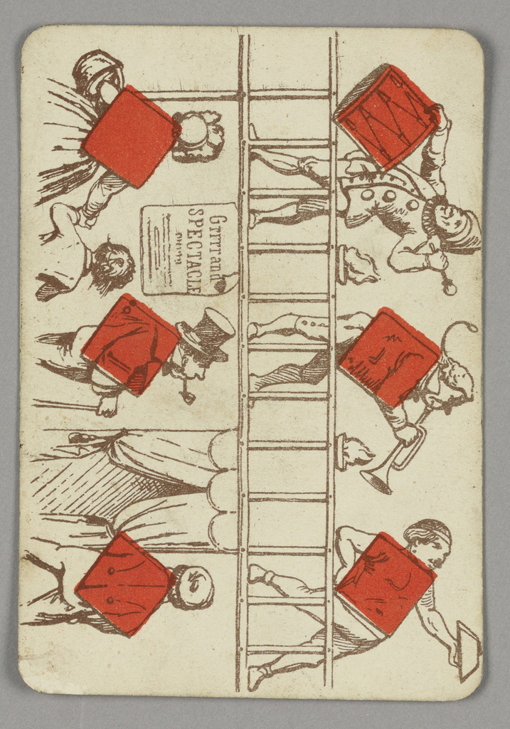 Six of diamonds playing card from a pack of transformation playing cards. Vertically, a figural scene depicted in outline. At left, a group of spectators viewed from behind, looking up at carnival-like performers on a level above. At right, musicians playing a drum and a trumpet. They are accompanied by a circus strong man. Red diamonds integrated into the scene.
