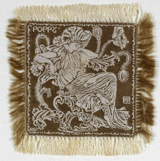 Small square doily, fringed on all sides, with an ivory linen warp and an olive ground. A figure of a woman dressed as a poppy with and sitting on the stem of a large poppy, with the word POPPY in the upper left corner, all appearing in ivory on an olive ground. A set of six, the doilies would have been used on the table as part of a dessert service.