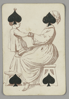 Four of Spades playing card from a pack of transformation playing cards. Female figure and child depicted in outline, the woman seated on a stool at right with a small child standing on her lap. The woman wears a long dress and a head scarf, the black symbol of the spade covers her face. A few facial features are indicated, depicting a stereotypical black mammy figure. The spade at left is integrated with the boy's image so that it appears as a hat. The two spades below form the cut-out decoration in two stools.