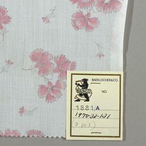 Two samples patterned by clusters of three carnations with small flower interspersed. Four colors per sample.