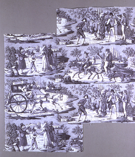 "Panel of white cotton, copper plate printed in violet. Design known as ""La Route de Poissey."" Shows four scenes: 1) Men bowling, and on stone at side ""Les Joueurs de Boules;"" 2) Fat man on horseback and thin man smoking pipe. Inscription on stone ""Route de Poissy"" 3) Man playing bagpipe, and boy receiving money from a lady, on a stone at side ""Joueur de Carnemuse;"" a carriage with two men on the box and passengers inside. Drawn by a jaded horse. Inscription on stone at side ""Route de St. Cloud."" also on a stone appears: ""Delmes."""